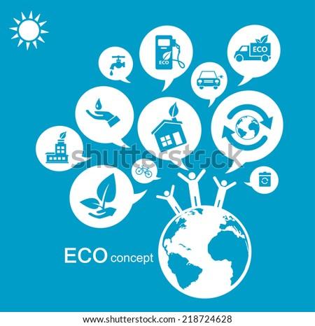 Eco concept Green world - stock vector