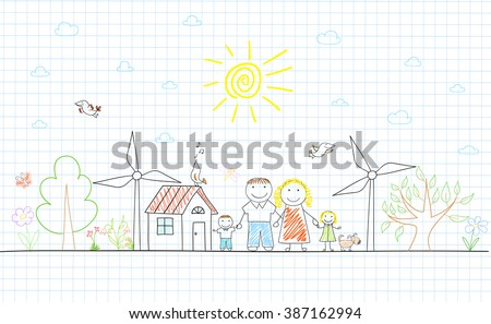 Eco concept. Happy family - mom, dad and two children on nature. Sketch on notebook page - stock vector