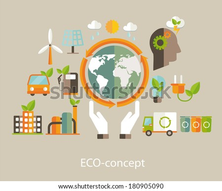 Eco concept. Tree with earth, nature, green, sun, recycling, bicycle, car and home icon. Vector illustration  - stock vector