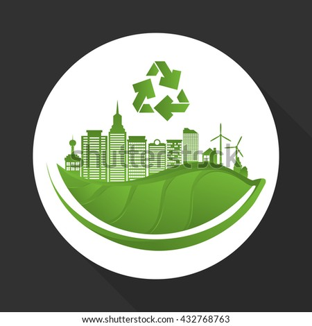 Eco design. Green icon. Isolated illustration , vector