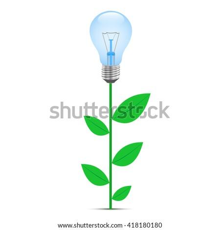 Eco Design on a white background, incandescent lamp, green stalk. Vector illustration. - stock vector