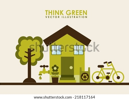 eco design over beige background vector illustration - stock vector