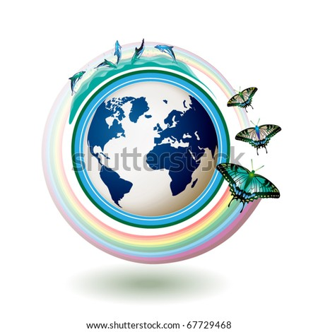 Eco Earth, green and blue with butterflies on white background - stock vector