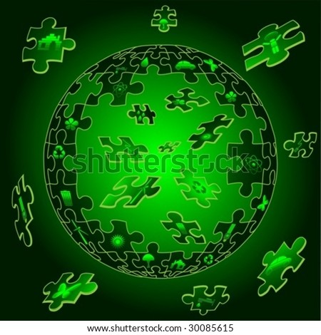 Eco Earth in flying puzzle pieces with eco icons. vector. jpeg also available in my port. - stock vector
