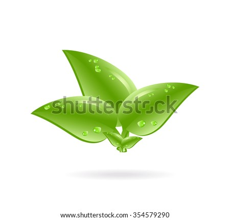 Eco element icon with green leaves and shadow. Vector illustration of ecology concept with glossy green leaf and drops isolated. Cartoon for spring on white background - stock vector