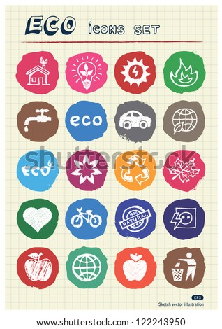 Eco elements and environment web icons set drawn by chalk. Hand drawn vector elements pack isolated on paper