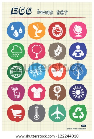 Eco elements and environment web icons set drawn by chalk. Hand drawn vector elements pack isolated on paper - stock vector