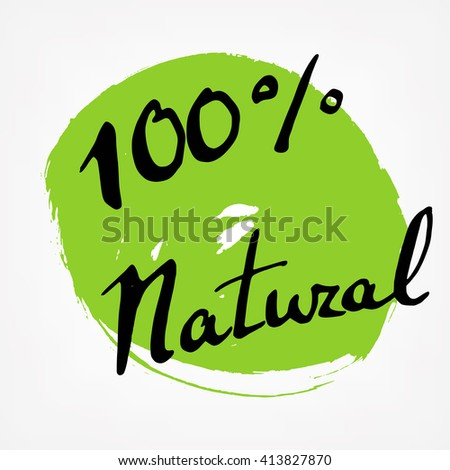 Eco emblems. Natural and organic signs on green ink stains. Vector illustration