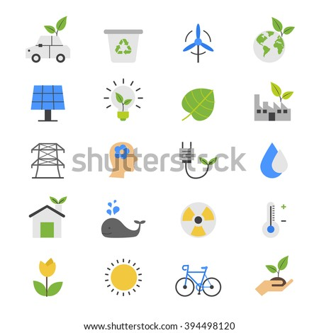 Eco Energy and Environment Flat Color Icons - stock vector