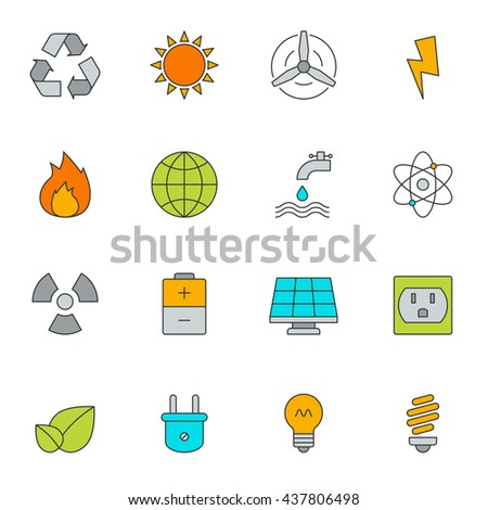 Eco energy color line icons