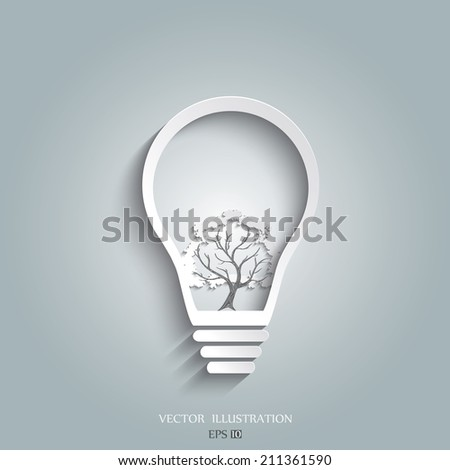 eco energy concept, plant growing inside the light bulb - stock vector