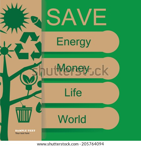 Eco energy concept. Save world vector Illustration. - stock vector