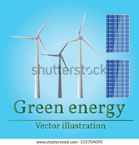 Eco energy. Green energy. Wind energy. Solar energy. Vector. Eco energy drawing. Eco energy graphic. Eco energy art. - stock vector