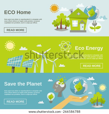 Eco energy horizontal banner set with green home planet flat elements isolated vector illustration - stock vector