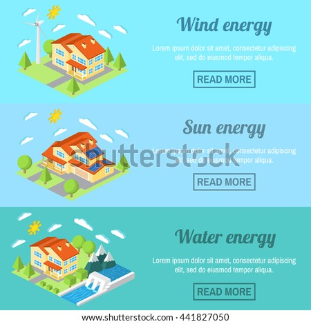 Eco energy horizontal banner set with low-energy houses. Wind turbine, solar panels and hydro power plant .For web design, mobile and application interface, also useful for infographics. - stock vector