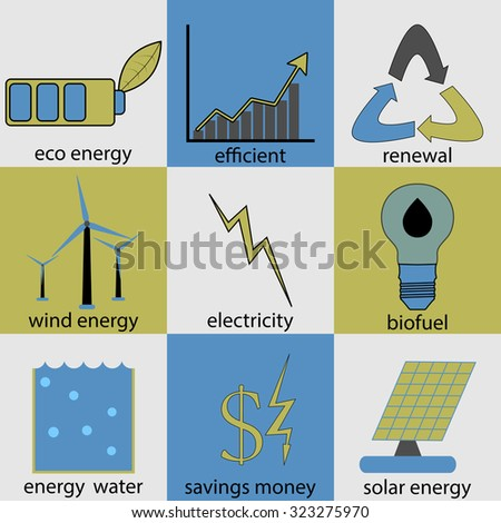 Eco energy icon set. Ecology renewal, logo bio fuel, productivity and efficiency, money and electrical, button water and solar electric, vector art design abstract unusual fashion illustration - stock vector