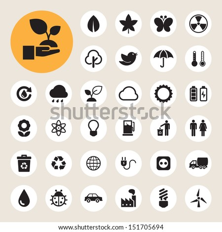 Eco energy icons set.Illustration eps10 - stock vector