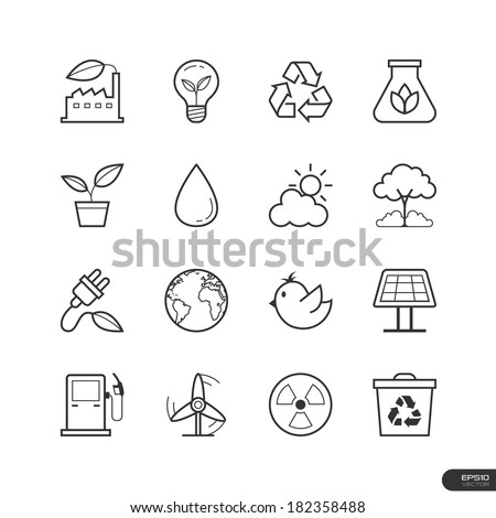 Eco Energy Icons set - Vector illustration - stock vector