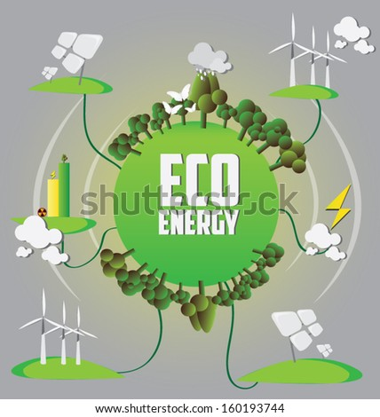 Eco energy. Let's Save the world together concept.vector illustration, - stock vector
