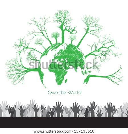 eco energy over White  background vector illustration - stock vector