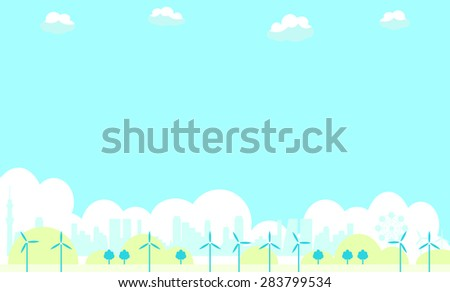 eco energy, wind turbines - stock vector