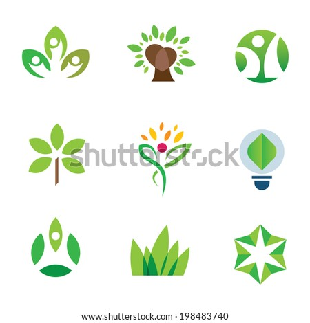 Eco environment logo awareness green tree nature community icon set - stock vector