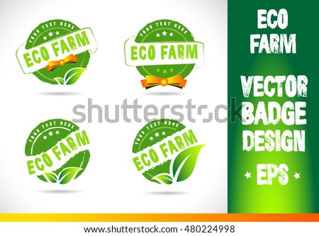 Eco farm Badge Logo badge label seal stamp logo text design green leaf template vector eps