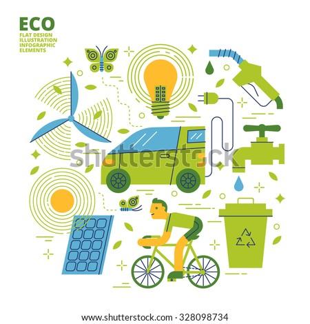 ECO, Flat Design, Illustration - stock vector