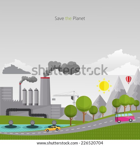 Eco Flat design vector concept illustration with icons of ecology, pollution  - stock vector