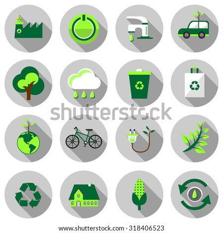 eco flat icon set vector illustration design with long shadow isolated on white background. for web and mobile application