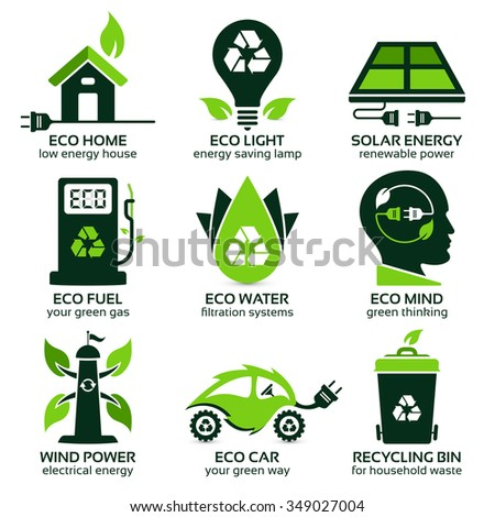 eco flat symbols promoting green lifestyle in the household, the drop shadow contains transparencies, eps10 - stock vector