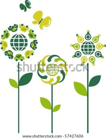 Eco flower symbols - green energy theme - stock vector