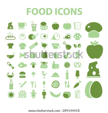 eco food isolated icons, illustrations, vector