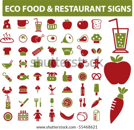 eco food & restaurant signs. vector