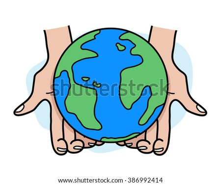 Eco Friendly, a hand drawn vector illustration of 2 hands holding on earth, isolated on a simple background (editable). - stock vector