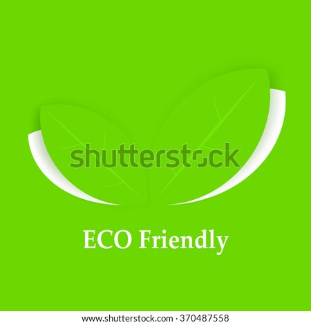 Eco friendly background. Leaves on green. Vector illustration - stock vector