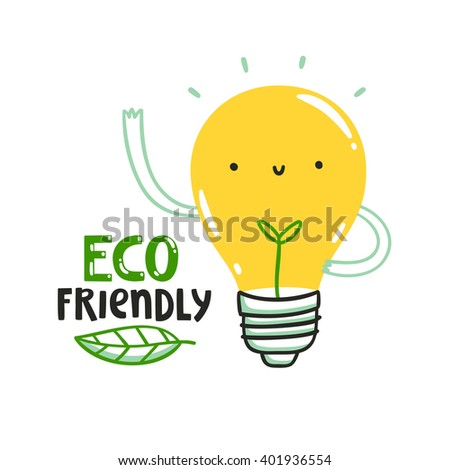 Eco friendly bulb illustration, save energy, save planet - stock vector