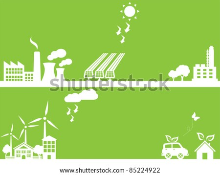 Eco friendly city and industry - stock vector