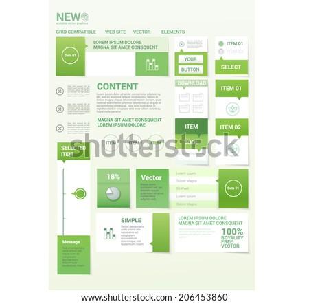 Eco friendly color concept web or brochure graphics set elements - stock vector