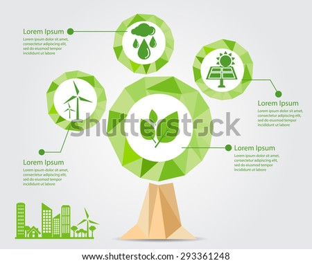 eco friendly concept,eco friendly with renewable energy icons in low poly tree background vector illustration