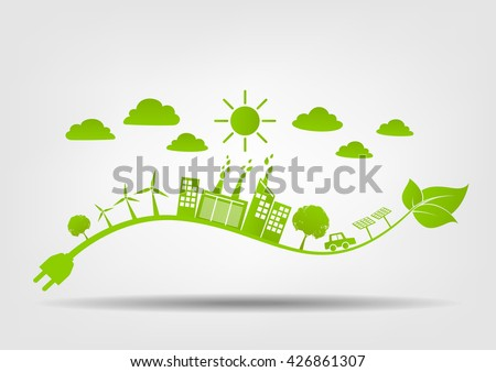 Eco friendly concept, Green city save the world, vector illustration - stock vector
