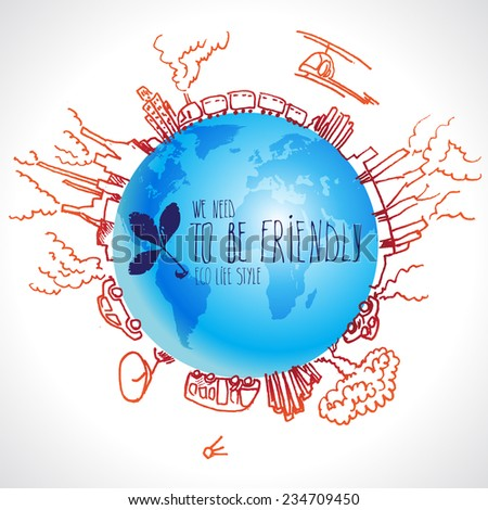 Eco-friendly concept with planet doodles about dangerous technologies - stock vector