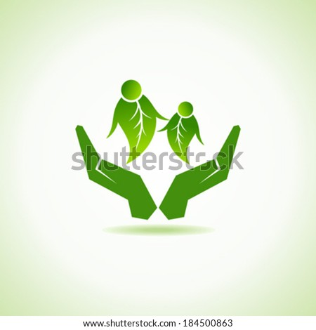 eco-friendly couple under hand concept vector