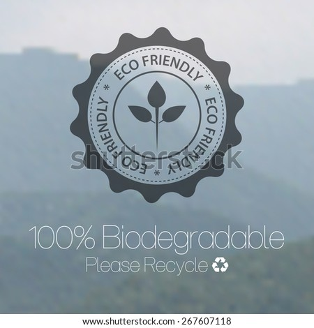 Eco friendly design against blurred mountain background. - stock vector