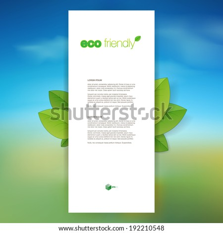 Eco friendly design with green environment background  Eps 10 stock vector illustration - stock vector
