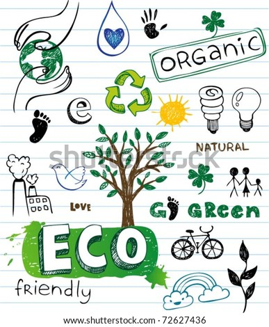 Eco friendly Doodles - stock vector