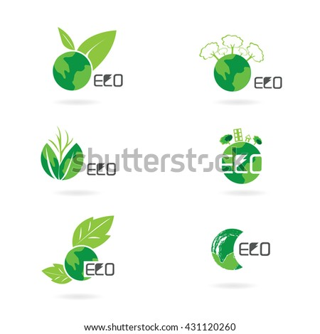 ECO FRIENDLY. Ecology concept with Green Eco Earth and Trees. Vector
