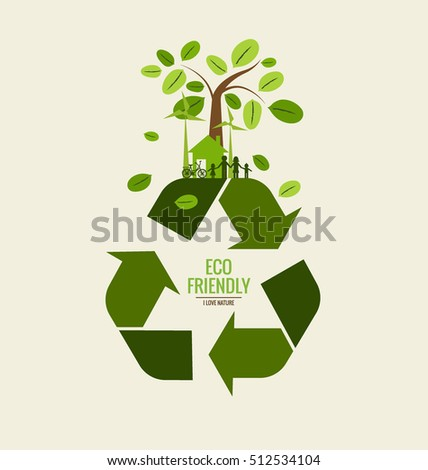 eco friendly ecology concept recycle symbol stock vector. Black Bedroom Furniture Sets. Home Design Ideas