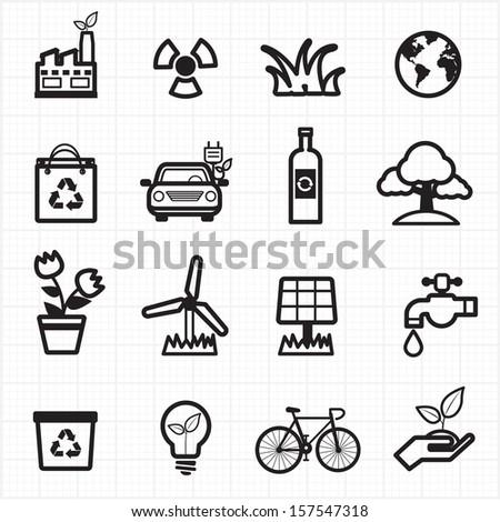 Eco friendly, environment green icons - stock vector