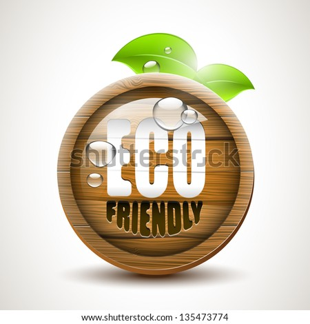 ECO friendly - glossy wooden icon - stock vector